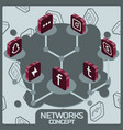 social network concept isometric icons vector image vector image