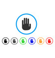 stop hand rounded icon vector image vector image