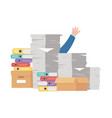 stress at work hand pile papers and many vector image vector image