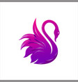 swan bird and water colorful logo icon vector image vector image