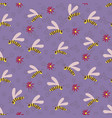 swarm wasps seamless pattern on lilac vector image vector image