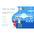 time for travel landing elderly travelers vector image