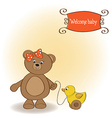welcome baby card with girl teddy bear and her