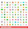 100 vital icons set cartoon style vector image vector image