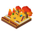 3d design for playground in autumn vector image vector image