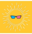 3D Glasses Icon Shining effect dash line Yellow vector image