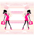 Beautiful pregnant woman on shopping - card vector image vector image