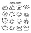 bomb explosion icon set in thin line style vector image
