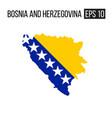 bosnia and herzegovina map border with flag eps10 vector image