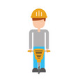 builder with hydraulic hammer isolated icon vector image vector image