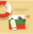 bulgaria tourism lifebuoy in the sand with towel vector image vector image
