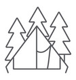 camping tent thin line icon travel and tourism vector image vector image
