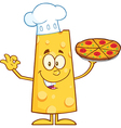 Chef Cheese Cartoon with Pizza vector image