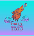 chinese new year 2018 zodiac dog happy new year vector image