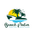 coconut tree logo with beach view vector image vector image