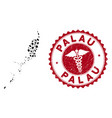 collage palau map with textured clinic stamp vector image vector image