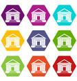 colonnade icon set color hexahedron vector image vector image