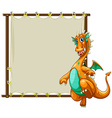 Dragon and frame vector image vector image