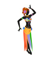 Ethnic dance of cartoon asian girl vector image