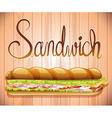 Foot long sandwich with ham and veggies vector image vector image