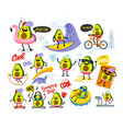 funny cute avocado large set with text vector image vector image