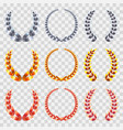 golden silver bronze laurel wreaths set vector image
