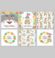 happy birthday set cards and seamless patterns vector image