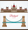 hungarian parliament building and chain bridge vector image vector image