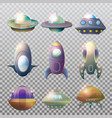 isolated alien spaceship disk or astronaut rocket vector image vector image