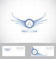 Letter A logo with blue wings vector image vector image