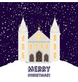 merry christmas card with church vector image vector image