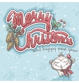 Merry Christmas greeting card with monkey vector image vector image