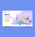 money transfer landing page concept vector image vector image