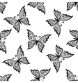 Outline flying butterflies seamless pattern vector image