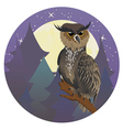 Owl in Night Forest vector image vector image