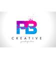 pb p b letter logo with shattered broken blue vector image vector image