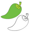 pepper in color and without color in outline vector image vector image