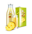 pineapple juice in glass bottle and packaging 3d vector image