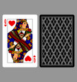 queen of hearts playing card and the backside vector image vector image