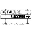 road block arrow sign drawing of failure or vector image