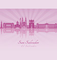 san salvador skyline in purple radiant orchid vector image vector image