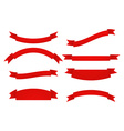 Set of Red ribbons Isolated on white background vector image