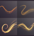 set of wavy golden shining lines on transparent vector image