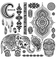 Set ornamental indian symbolsethnic elephant