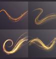 set wavy golden shining lines on transparent vector image