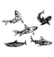 shark tattoos vector image vector image