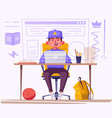 student or schoolboy studying at computer vector image