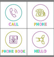 telephone conversation device linear icons set vector image vector image