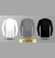 three shades of white gray and black long sleeve vector image vector image