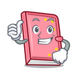 thumbs up diary character cartoon style vector image vector image